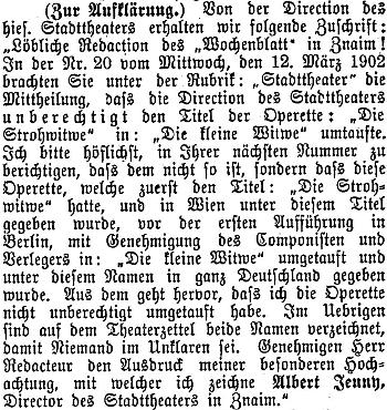 Takto vyšel jeho text ve znojemských německých novinách