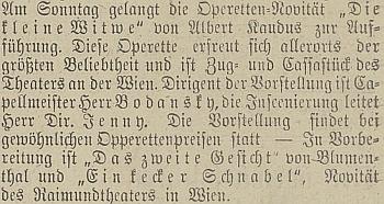 """Zpráva o uvedení operety """"Die kleine Witwe"""" v Českých Budějovicích"""