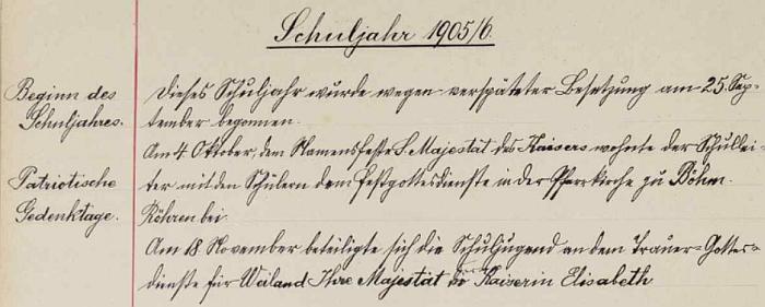 Úvod jeho záznamu ve stožecké školní kronice
