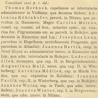 Tady je uveden mezi novokněžími z roku 1935 vordinariátním listu diecéze při svém nástupu do Kašperských Hor na místo druhého kaplana