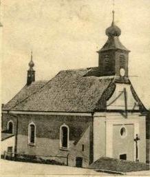 Kostel sv. Anny na výřezu z jiné staré pohlednice