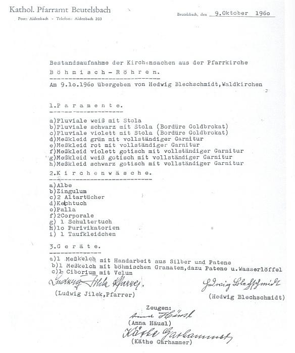 Originál seznamu z října roku 1960