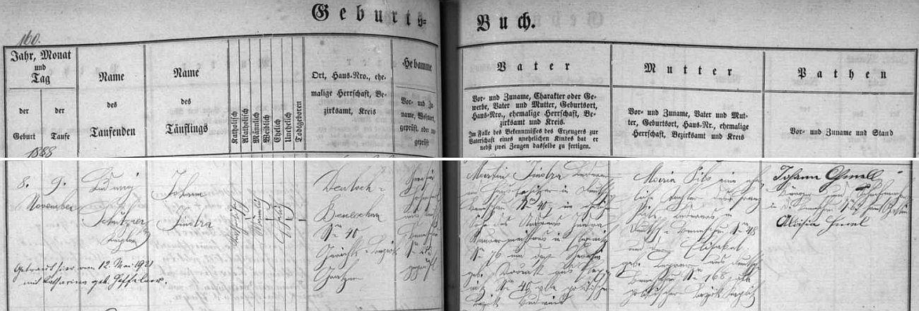 Záznam o Jindrově narození v křestní matrice tehdy Německého Benešova s přípisem o jeho pozdější svatbě