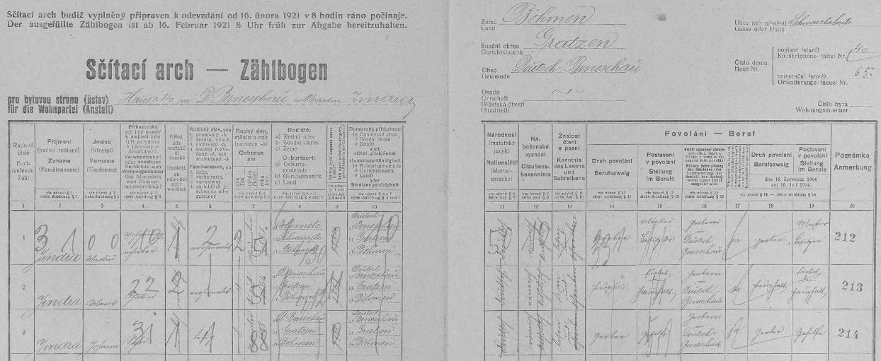 Arch sčítání lidu z roku 1921 pro dům čp. 40 v německém Benešově zaznamenává jeho jméno s rodiči několik měsíců před vlastní svatbou