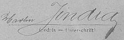 Svižný podpis koželuha Martina Jindry, jeho otce, na archu sčítání lidu z roku 1921