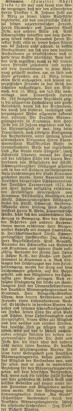 Autorem nekrologu v českobudějovickém německém listu byl Richard Wondra