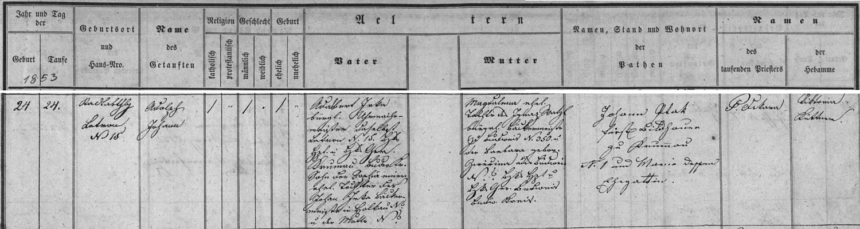 Záznam v českokrumlovské matrice o jeho narození