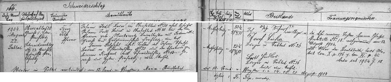 Záznam záblatské oddací matriky o svatbě jeho rodičů