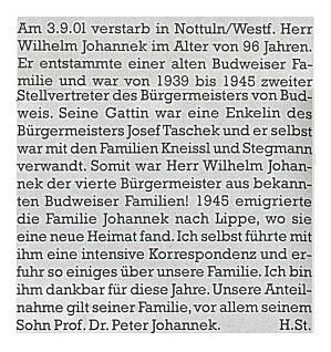 Nekrolog Heinze Stegmanna s vyjádřením  soustrasti synovi zesnulého Peteru Johanekovi