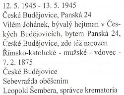 Záznam o otcově sebevraždě oběšením v květnových dnech roku 1945 z knihy zemřelých a pohřbených českobudějovického děkanského úřadu