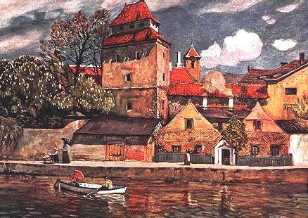 České Budějovice na obraze Ed. Amesedera, pohlednice