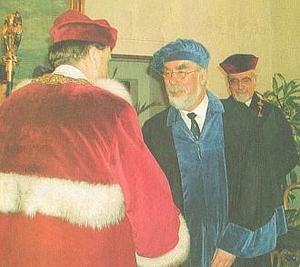 Peter Johanek při udělování čestného doktorátu Jihočeské univerzity v oboru české dějiny (druhý zprava)