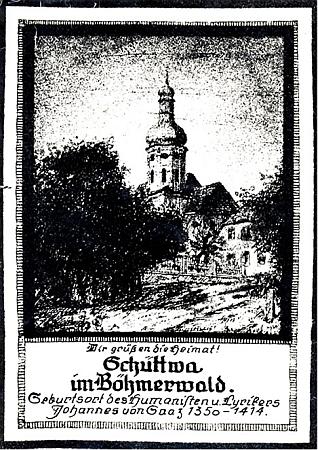 """Motiv kostela v Šitboři je doprovázen zmínkou o slavném rodákovi, zde jmenovaném """"Jan ze Žatce"""""""