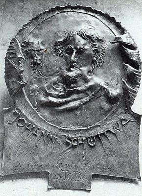 """Reliéf Jana """"ze """"Šitboře"""", dílo Leopolda Hafnera v """"Muzeu zemské brány"""" (Landestormuseum) ve Furth im Walde"""
