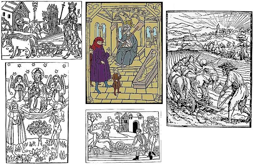 """Některé z ilustrací k různým vydáním knihy o """"Oráči z Čech"""""""