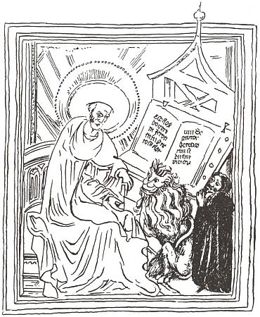 """Kresba podle iluminace titulního listu oficia sv. Jeronýma zroku 1404 zachycuje celek kompozice s klečícím Janem zTeplé jako donátorem a byla otištěna v knize dokazující, že """"Oráč z Čech"""" je vlastně pláčem nad násilnou smrtí Nepomukovou"""