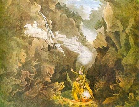 """Odlévání kulí ve Vlčí rokli """"pod Ostrým"""" (a Bílou strží?) ve scéně zWeberovy opery """"Čarostřelec\     (viz i Johann Friedrich Kind)"""