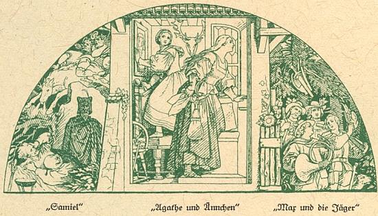 """Scény z Weberova """"Čarostřelce"""" na fresce Moritze von Schwinda ve foyer vídeňské Dvorní opery, jejímž stavitelem byl v letech 1861-1869 Josef Hlávka (architekty Eduard van der Nüll a August von Siccardsburg)"""