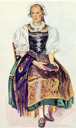 """Dívka """"in Egerländer Tracht"""" na titulu propagačního tisku Sudetoněmeckého krajanského stružení (viz www stránky Egerländer Gmoi z´ Dillenburg - tam i podskupiny krojů z Chebska)"""