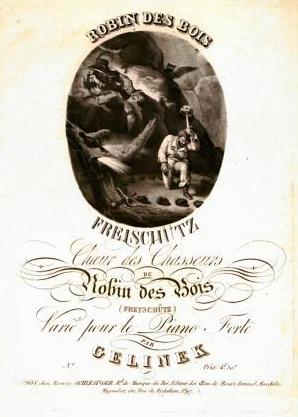"""Pařížské provedení Weberovy opery situovalo děj do Yorkshiru a postavy měly anglická jména, autorem klavírního výtahu je však jakýsi """"Gelinek"""""""