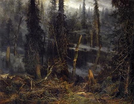 Obraz Julia Mařáka Šumavský prales za bouře, datovaný roky 1891-1892, je součástí sbírek Národní galerie v Praze