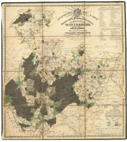 Administrativní mapa panství Vimperk z roku 1833, tedy pouhých 5 let před jeho příchodem do Vimperka (klikněte na náhled pro digitalizovanou mapu)