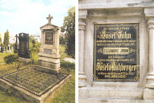 Hrob a detail náhrobní desky na vimperském hřbitově