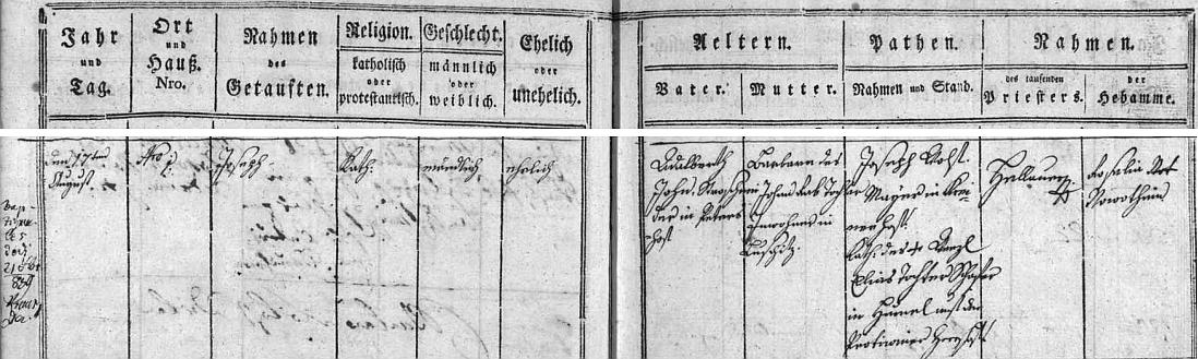 """Narodil se podle záznamu v křestní matrice 17. srpna 1802 v Petrově Dvoře (Petrowý Dwůr Nro 1.) Adalbertu Johnovi, zdejšímu """"řezači slámy"""" (Strohschneider),  a jeho ženě Barbaře, roz. Rabové, z Lužic"""