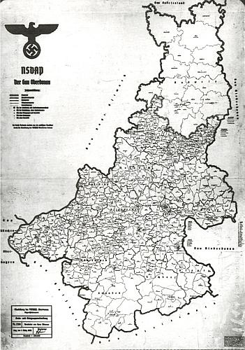 """Župa NSDAP """"Oberdonau"""" k 1. březnu 1935 jako příloha k Johnovu textu"""
