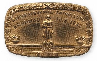 Pamětní odznak českokrumlovského památníku padlým
