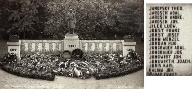 Památník padlým první světové války v Českém Krumlově s jeho jménem