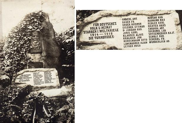 Památník českokrumlovským turnerům, padlým v první světové válce, opět s jeho jménem (reliéf představuje zakladatele turnerského hnutí Friedricha Ludwiga Jahna /1778-1852/)