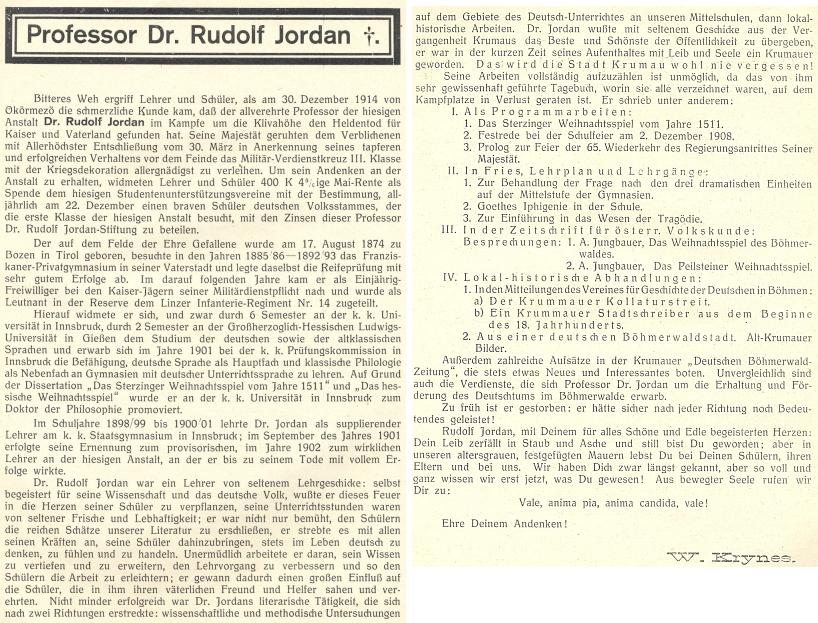 Jeho nekrolog na stránkách výroční zprávy německého gymnázia v Krumlově 1914-1915