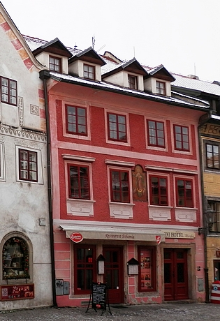 Otcův rodný dům v čp. 64 v Kájovské ulici v Českém Krumlově