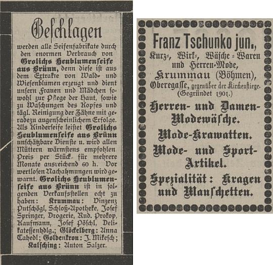 Inzerát Springerovy drogerie a Tschunkova textilního obchodu na téže straně českokrumlovského německého listu