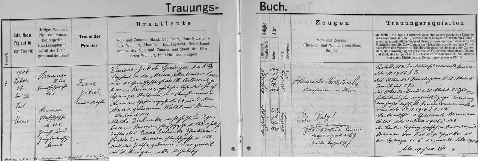 Záznam českokrumlovské oddací matriky o zdejší svatbě jejích rodičů