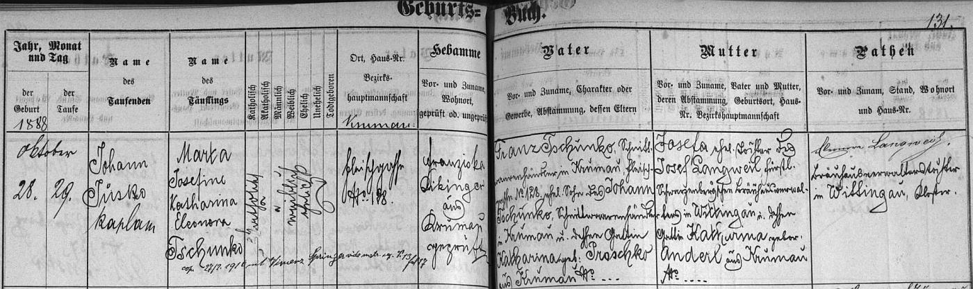 Záznam o narození matčině v českokrumlovské křestní matrice s pozdějším přípisem o její svatbě s Vinzenzem Springerem