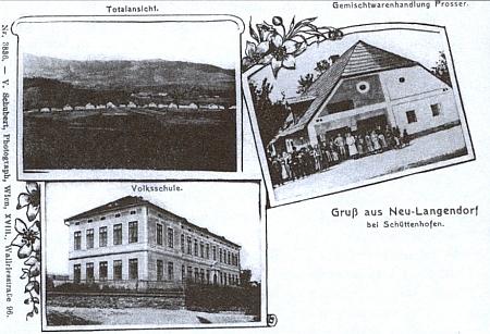 Stará pohlednice zachycuje i německou obecnou školu v Dlouhé Vsi