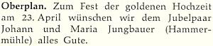 Blahopřání manželům Jungbauerovým k jejich zlaté svatbě na stránkách krajanského měsíčníku
