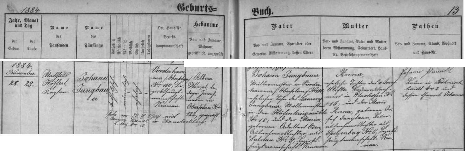 Záznam hornoplánské matriky o jeho narození