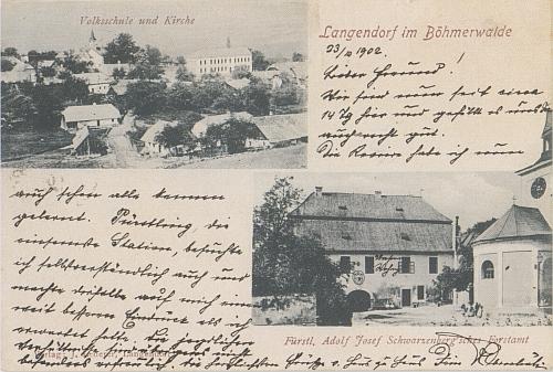 Dlouhá Ves na složené pohlednici, zachycující školu, kostel a knížecí schwarzenverskou lesní správu