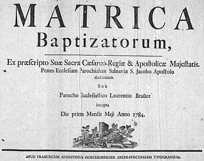 Titulní list želnavské křestní matriky se záznamem o jeho narození
