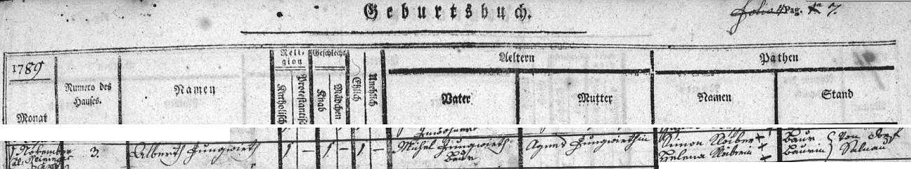 Záznam o jeho narození a křtu v želnavské matrice