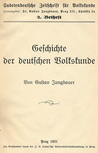 Titulní list (1931) jeho dějin německé vlastivědy, vydaných jako příloha časopisu, který řídil