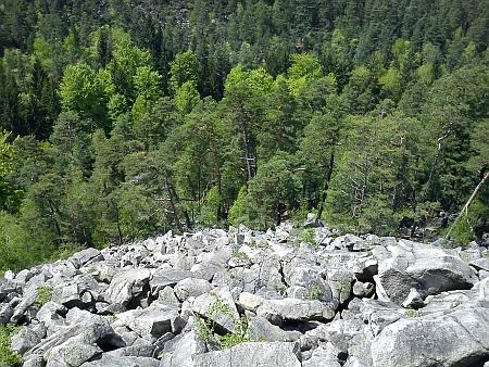 Pohled z Čertovy kazatelny přes kamenné moře Čertovy stěny kVltavě...