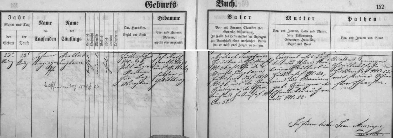Záznam o jeho narození v křestní matrice farní obce Glöckelberg - otec dítěte Michael Jungbauer byl v Huťském Dvoře chalupníkem na čp. 36 jako předtím i jeho otec Wenzl Jungbauer se svou ženou Theres, roz. Springerovou z Huťského Dvora čp. 35, matka Crescens byla dcerou Johanna Neubauera, zdejšího chalupníka z čp. 20, a jeho ženy Mariany, roz. Springerové z čp. 52
