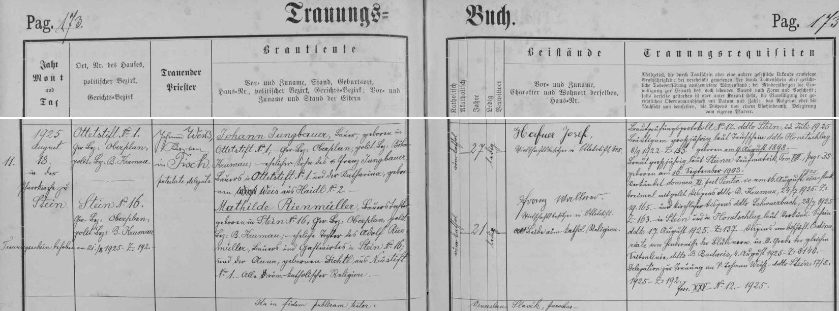 Záznam oddací matriky farní obce Polná na Šumavě o svatbě jeho rodičů