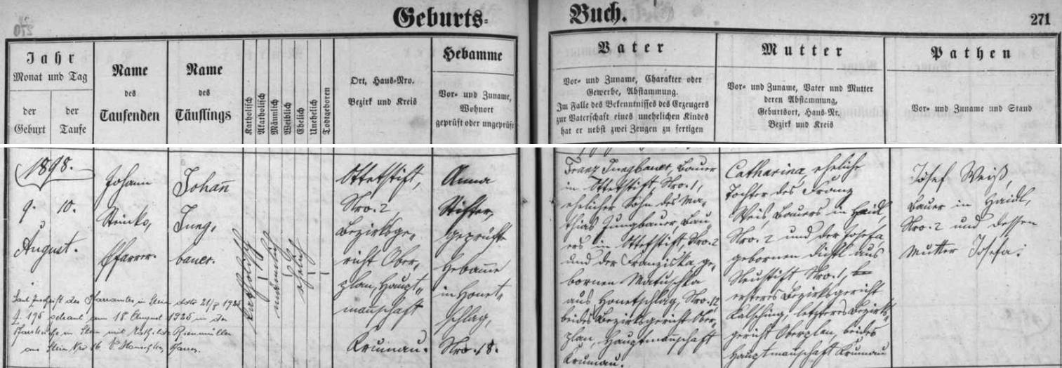 Záznam hodňovské křestní matriky o narození otcově s pozdějším přípisem o jeho svatbě