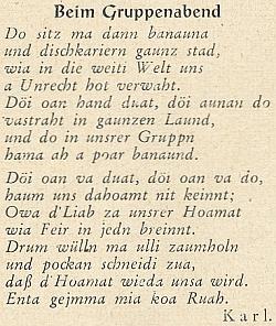 """Jeden z jeho prvních nářečních básnických pokusů na stránkách krajanského měsíčníku, resp. jeho přílohy mladých """"Der Wanderstecken"""""""