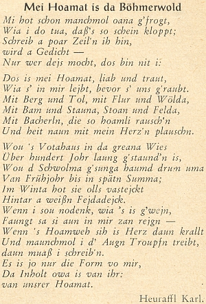 """Jiná z jeho nářečních básní v příloze """"Der Wanderstecken"""""""